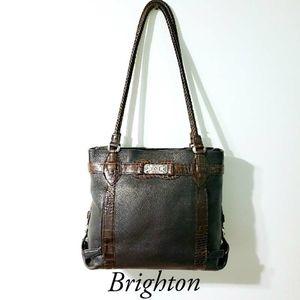 Brighton Pebbled Leather Croc Embossed Trim Bag